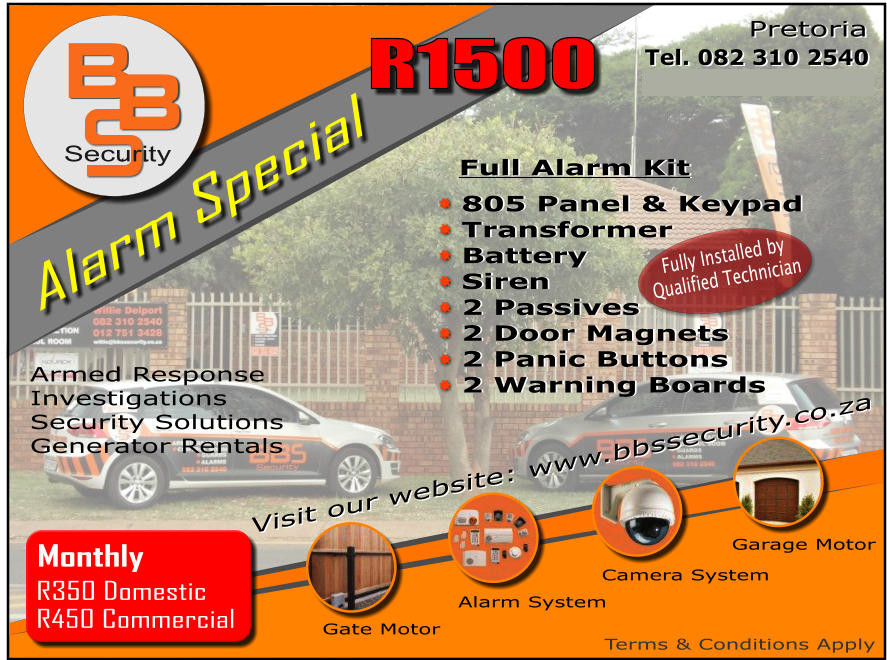 Control Room 24 Hours, Investigations and Security Solutions, Armed Response Unit, Alarm System Installations,